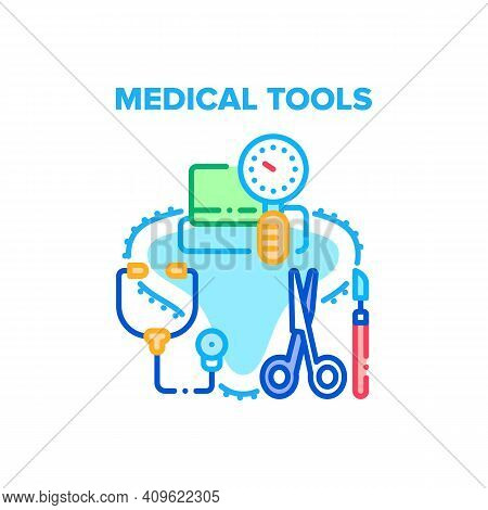 Medical Tools Vector Icon Concept. Stethoscope And Pressure Measuring Equipment, Scissors And Scalpe