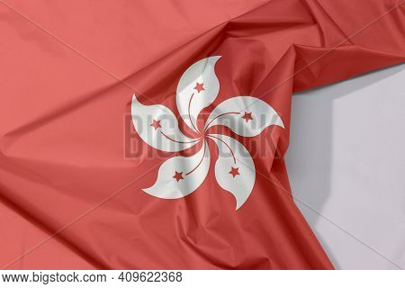 Hong Kong Fabric Flag Crepe And Crease With White Space, The Red And White Five Petal Bauhinia Blake