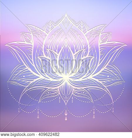 Spiritual Symbol Of Lotus With Tribal Decoration On Gently Blurred Ocean And Sunset Background. Calm
