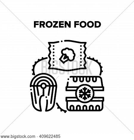 Frozen Food Vector Icon Concept. Fish Steak And Broccoli Vegetables In Bag, Container For Storaging