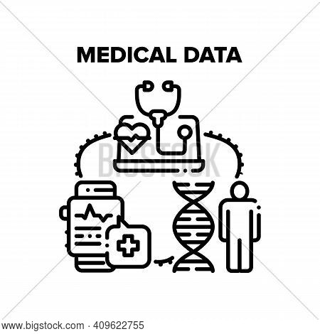 Medical Data Vector Icon Concept. Smart Watches For Measuring Heart Beat And Controlling Health, Onl