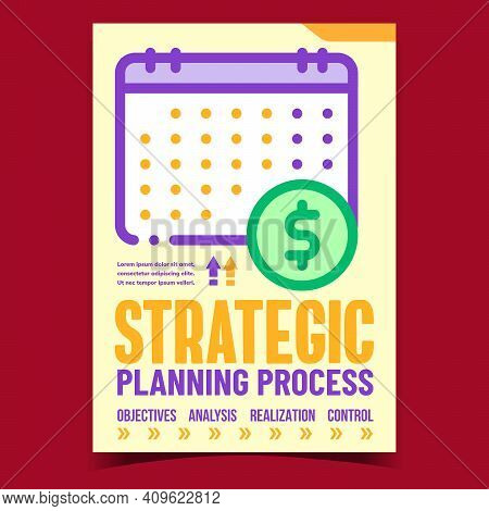 Strategic Planning Process Promo Banner Vector. Objectives And Analysis, Realization And Control Bus