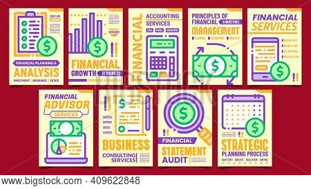 Financial Accounting Promo Posters Set Vector. Finance Advisor And Accounting Services, Strategic Pl