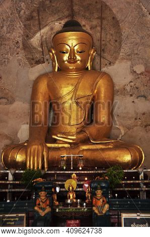 Golden Buddha Image Statue Burma Style In Ananda Paya Temple For Burmese And Foreign Traveler Travel