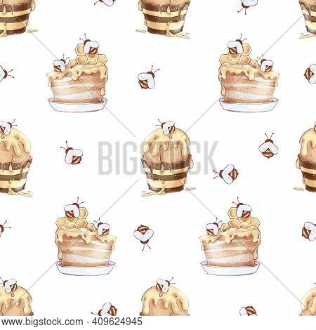 Honey Bee Honeycomb Sweets Seamless Pattern. Watercolor Illustration