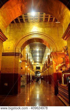 Interior Design Of Mahamuni Paya Buddha Temple And Burma People Or Burmese And Foreign Travelers Tra