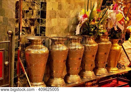 ฺbrass Vase For Burma People Or Burmese And Foreign Travelers Travel Respect Pray Offerings Flower T