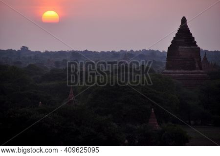 View Landscape And Ruins Cityscape World Heritage Site With Over 2000 Pagodas And Temples Look From