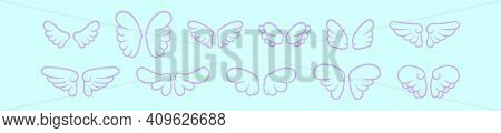 Set Of Angel Wings Cartoon Icon Design Template With Various Models. Modern Vector Illustration Isol