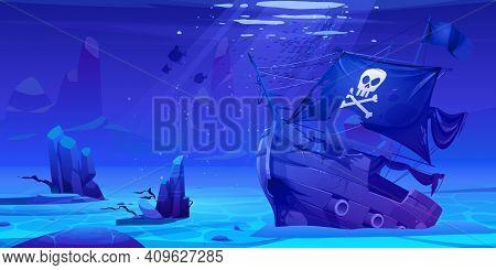 Wreck Pirate Ship, Sunken Filibuster Vessel, Wooden Boat With Jolly Roger Flag On Ocean Sandy Bottom