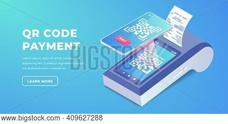 Isometric Cashless Payment Machine With Qr Code On Screen, Smartphone Scan To Pay Barcode Vector Ban