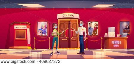 Woman In Mask Visit Cinema During Covid Epidemic. Young Girl With Popcorn Give Ticket To Masked Man