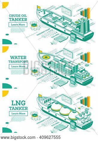 Cargo Ship Container. Crude Oil Tanker. LNG Tanker. Isometric Tanker. Commercial Water Transport. Logistics and Delivery Concept.