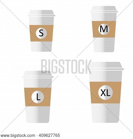 Coffee To Go Different Sizes Sign. Flat Style. Coffee Cup Size S M L Xl Icons On White Background. T