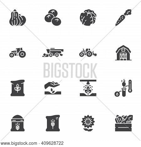 Agriculture And Farming Vector Icons Set, Modern Solid Symbol Collection, Filled Style Pictogram Pac