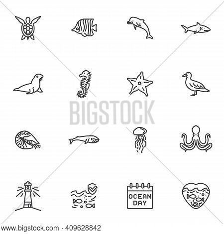 World Ocean Day Line Icons Set, Sea Life Outline Vector Symbol Collection, Linear Style Pictogram Pa
