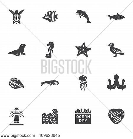 World Ocean Day Vector Icons Set, Sea Life Modern Solid Symbol Collection, Filled Style Pictogram Pa