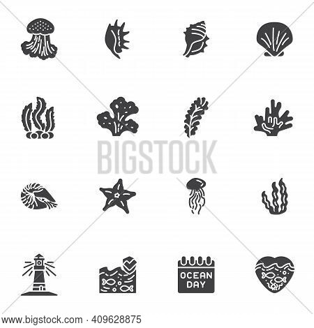 World Ocean Day Vector Icons Set, Modern Solid Symbol Collection, Filled Style Pictogram Pack. Signs