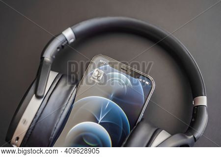 February 23, 2021, Usa, New York: Clubhouse Audio Chat Application View On The Smartphone Iphone 12