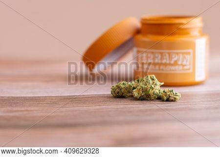 Philadelphia, Pa - February 23 2021: Devil's Lemons Medicinal Cannabis With An Orange Terrapin Whole