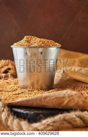 Teff, A Gluten-free Alternative To Ancient Grain. Teff In A Bucket