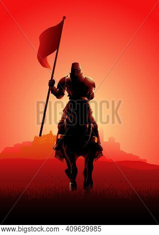 Vector Illustration Of A Medieval Knight On Horse Carrying A Flag On Dramatic Scene