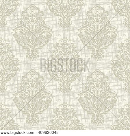 Seamless Background With Classic Elements. Light Gray, Beige Patterns. Texture Of Burlap, Coarse Wea