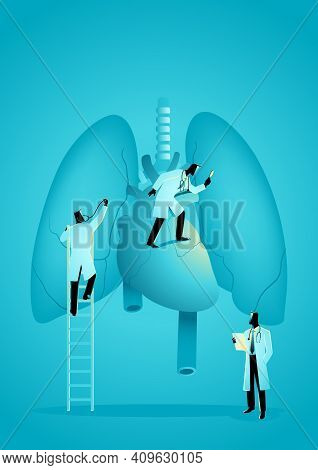 Vector Graphic Illustration Of Team Of Doctors Diagnose Human Lung And Heart. Pulmonologist Concept