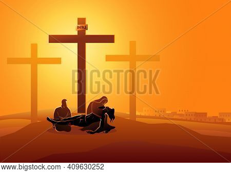 Biblical Vector Illustration Series. Way Of The Cross Or Stations Of The Cross, Thirteenth Station,