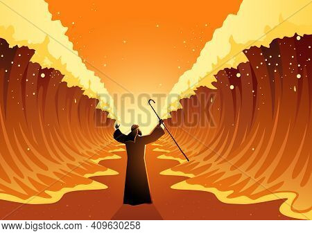 Biblical And Religion Vector Illustration Series, Moses Held Out His Staff And The Red Sea Was Parte