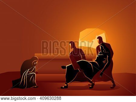 Biblical Vector Illustration Series. Way Of The Cross Or Stations Of The Cross, Fourteenth, Jesus Is
