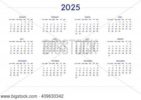 2025 Calendar Set In Classic Strict Style. Wall Table Calendar Schedule, Minimal Restrained Business