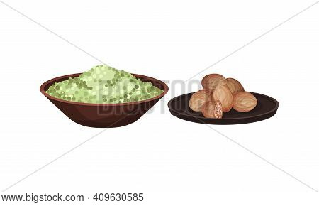 Nut Meg And Heap Of Peppercorns In Bowl As And Condiment Vector Set