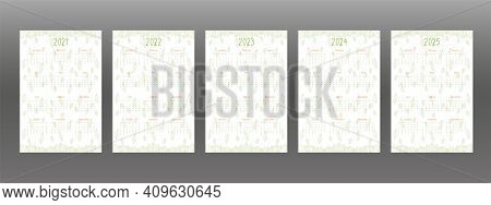 2021 2022 2023 2024 2025 Calendar Set For Personal Planner And Notebook. Green Hand Drawn Leaves, Cu