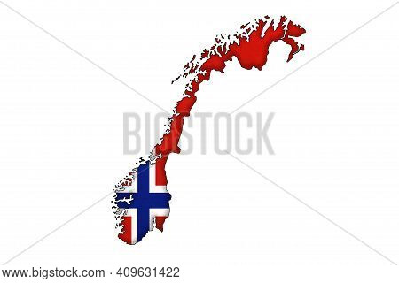 Norway Border Silhouette With National Flag Isolated On White Background With Copy Space. Contour Of