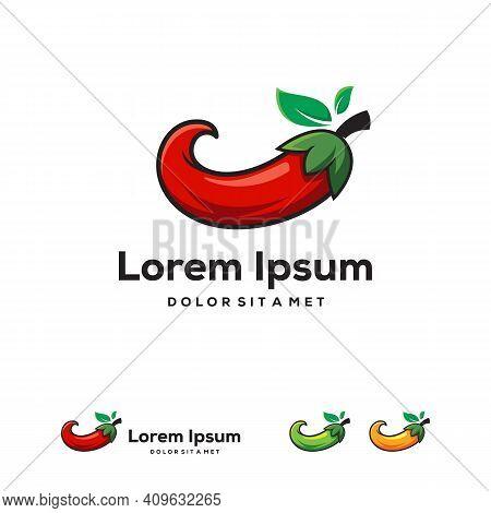 Red Hot Chili Logo Designs Concept Vector, Iconic Chili Logo Symbol
