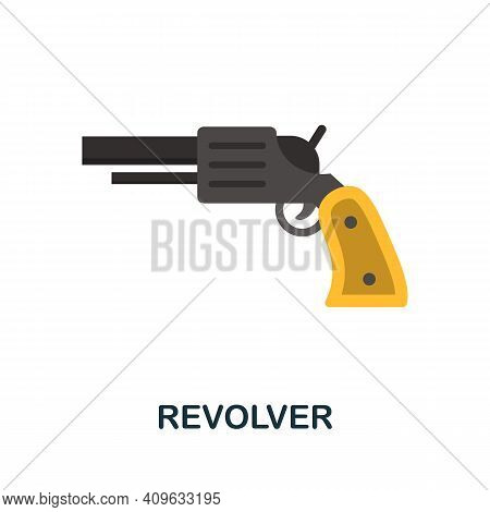 Revolver Flat Icon. Color Simple Element From Wild West Collection. Creative Revolver Icon For Web D