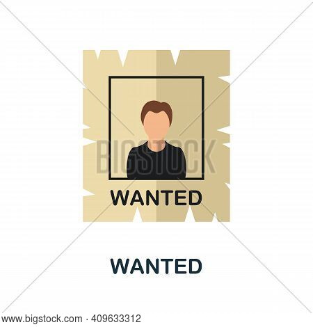 Wanted Flat Icon. Color Simple Element From Wild West Collection. Creative Wanted Icon For Web Desig