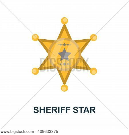 Sheriff Star Flat Icon. Color Simple Element From Wild West Collection. Creative Sheriff Star Icon F