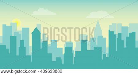 City Landscape, View Of A Large Metropolis. Vector, Cartoon Illustration. Vector.