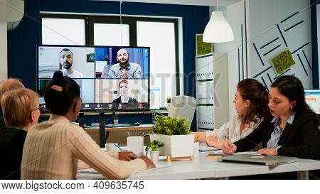 Emplyees Workers Having Webcam Group Conference With Coworkers Speaking On Video Chat Call With Dive