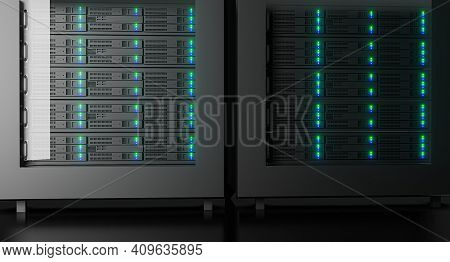 Close Up In Working Data Center Full Of Rack Servers And Supercomputers. High Internet Visualisation