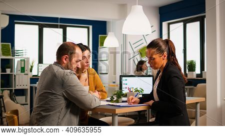 Businesswoman Reading Documents, Sign Its And Consultant Greeting International Client With Handshak