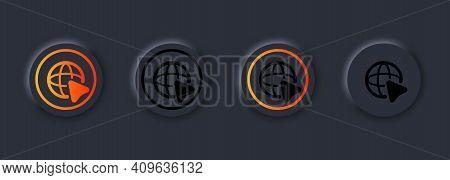 Set Of Internet Icon With Cursor. World International Earth Globe Icon. Globe Symbol Silhouette. Wor