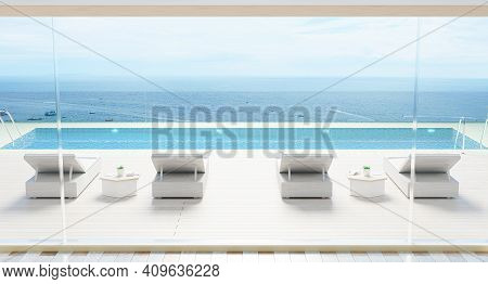 Luxury Beach House With Sea View Swimming Pool And Terrace Modern Design, Sunbed Lounge Chairs On De