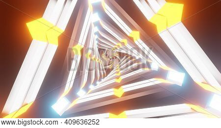 Loop  Sci-fi Animation Advanced Technology Portal 3d Rendering. Vj Music Loop.  Triangle Neon Tunnel