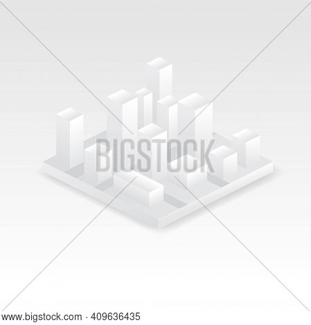 Isometric City Vector Illustration. Isometric 3d Isolated White Icons Set Of Real Estate Commercial,