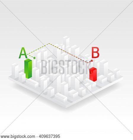 Isometric City Vector Illustration. City Street Map Plan With Gps Pins And Navigation Route From A T