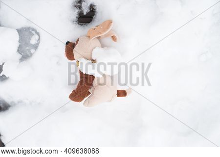 Discarded Plush Toy.children's Toy Dog Lying In The Snow Outside, Top View