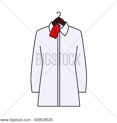 Blouse On Hanger With Sale Tag Icon. Editable Outline With Color Fill Design. Vector Illustration.